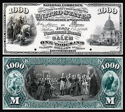 CRISP UNC.1875 $1,000 NATIONAL BANKNOTE SALEM MASS. COPY READ DESCRIPTION