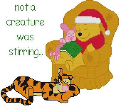 Tiger Cross Stitch Pattern - CROSS STITCH+ CRAFT PATTERN Christmas Eve Winnie Pooh Tigger Tiger Piglet Sleep