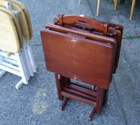 Set of 4 Folding Dark Wood TV Tray Tables on a Stand