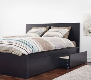 King IKEA Malm High Bed Frame with 4 Drawer Storage