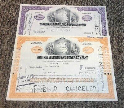 "Lot of 2  Different Stock Certificates ""Virginia Electric and Power Company"""