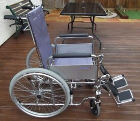 ROMA-1710: Fully Reclining Wheelchair (Colour grey) in VGC.
