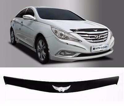Acrylic Bonnet Hood Guard Protector Deflector Black for Hyundai SONATA 2010~2013