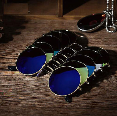 Men Women  Vintage Round Mirrored Sunglasses Eyewear Outdoor Sports Glasses US
