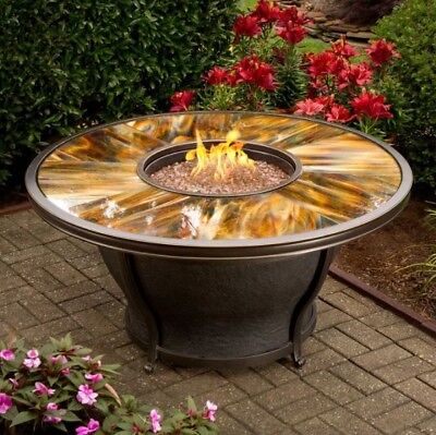 Used, Gas Fire Pit Table Coffee Outdoor Propane Round Large Big Rustic Modern Cover  for sale  USA