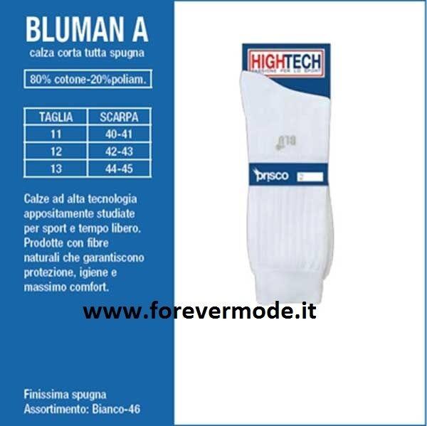 6 paia Calze uomo Prisco corte in cotone-spugna sportive comfort art Bluman