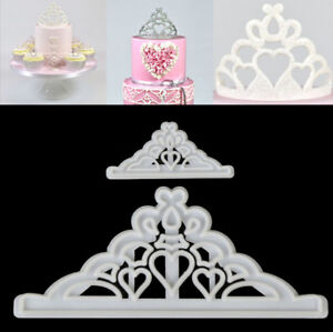 2Pcs Crown Tiara Cutter Fondant Icing Cutter Tool For Cake Decoration Mould DIY