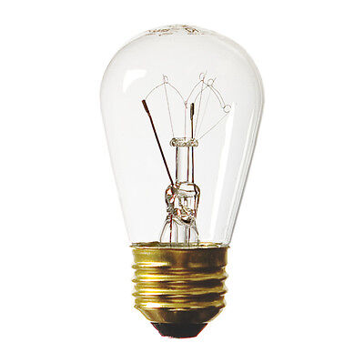 (48 pack) S14 Mini Light Bulb 11W 120V Clear Patio Sign Edison Replacement (Clear Sign Light Bulb)