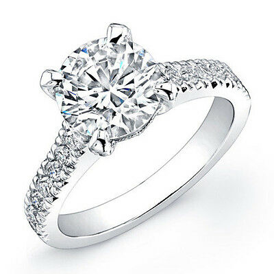 4.90 Ct Round Cut Diamond Engagement Ring Solitaire with Accent D, VS1 GIA Cert