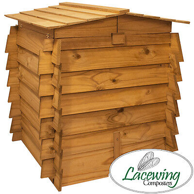 Wooden Beehive Compost Bin Double Hinged Garden Waste Composting - 328L