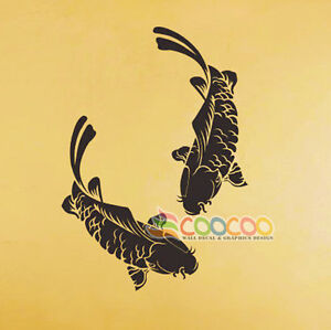 Wall decor decal sticker removable koi fish carp 28 for Koi fish wall decor