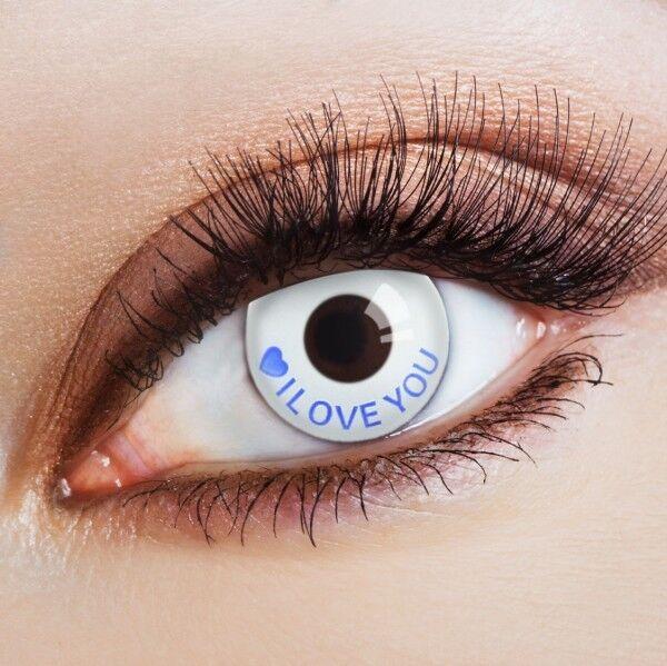 aricona weiße farbige Kontaktlinsen I Love You deckende 12 Monatskontaktlinsen