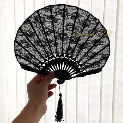 Elegant Ladies Slim Black Lace Hand Fan Party Wedding Gift