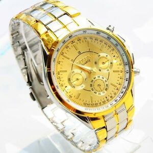New Rosra mens gold colour quartz watch supplied in gift box. UK seller & stock.