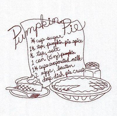 One Embroidered Flour Sack Towel - PUMPKIN PIE RECIPE - REDWORK