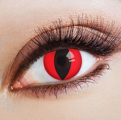 aricona farbige Katzenaugen Kontaktlinsen deckend ohne Stärke rot (Halloween Rote Augen Kontakte)