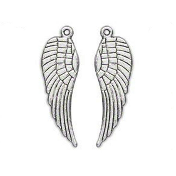 "Silver Wing Charms Pendants 1-1/8"" Steampunk Antiqued Angel Feather Lot of 20"