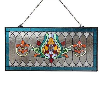 Stained Glass Fleur De Lis Pub Window Transom Panel Tiffany Style Suncatcher ()