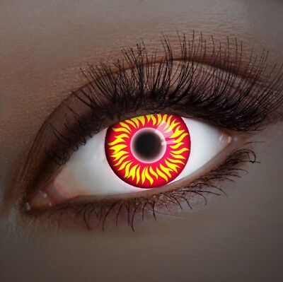 aricona Farblinsen rote UV Kontaktlinsen farbig Halloween Linsen Teufel Kostüm