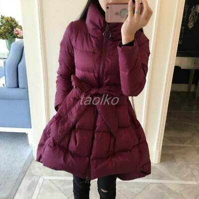 Korean Women Princess A Line Duck Down Jacket Parka Coat Outwear Warm Slim Fit t