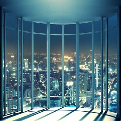 City View Indoor Scene Floor Window Photography Background 8x8ft Studio - City Scene Backdrop