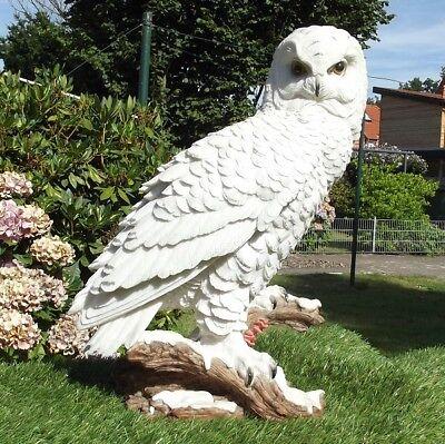 neeeule auf Baumstamm 6094 Garten Polyresin lebensecht Figur (Schnee-eule)