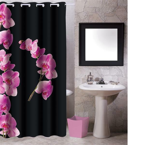 MSV Duschvorhang 180x200cm Anti Schimmel Textil Badewannenvorhang Schwarz