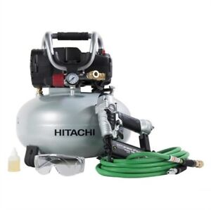 Hitachi 18g Brad Nailer Compressor Combo Kit