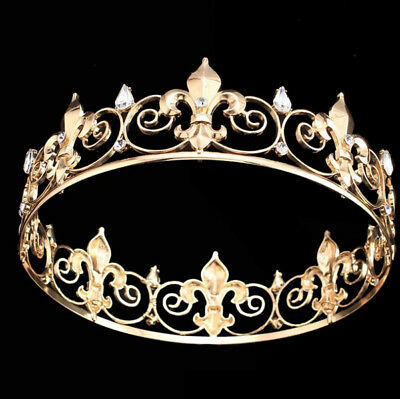 Men's Imperial Medieval Fleur De Lis King Crown Crystal Gold Plated Prom Party
