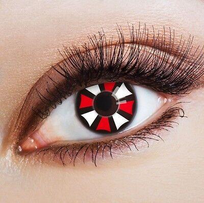 aricona weiße rote Kontaktlinsen schwarzem Rand Clown Kostüm bunt farbige - Schwarz Kontakte Kostüm