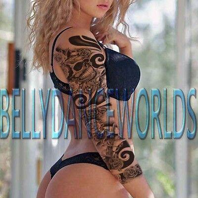 SKULL ROSE AND GUN DESIGN FULL ARM SLEEVE GRAY TEMPORARY TATTOO BODY ART STICKER - Skull And Roses Tattoo Sleeve