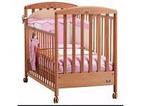 Pali Italian cot bed/ toddler bed with drawer, drop side, wheels. Retailing on Amazon at £320