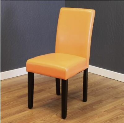 NEW Orange Faux Leather Dining Chairs Set of 2 Cheap Table Bar Furniture Durable