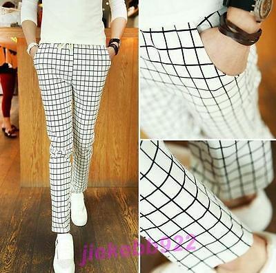 Mens Fashion Slim fit Skinny Stripes Casual Plaid pencil Pants Trousers #