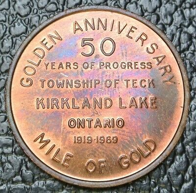 1919 1969 Township Of Teck Kirkland Lake Ontario Medal   50 Years   Mile Of Gold