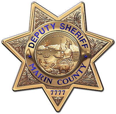 Marin County Sheriff's Department Badge all Metal Sign with your badge number