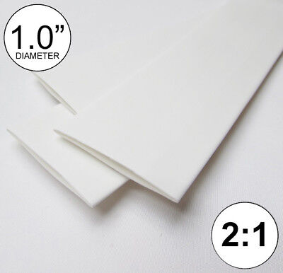 1.0 Id White Heat Shrink Tube 21 Ratio 1 Wrap 2x24 4 Ft Inchfeetto 25mm