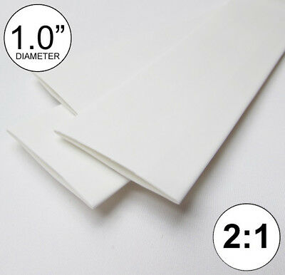 1.0 Id White Heat Shrink Tube 21 Ratio 1 Wrap 3x8 2 Ft Inchfeetto 25mm