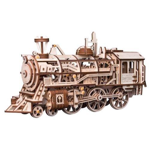 NEW 3D Wooden Puzzle Clockwork Gear Drive Locomotive Building Model DIY Kids Toy