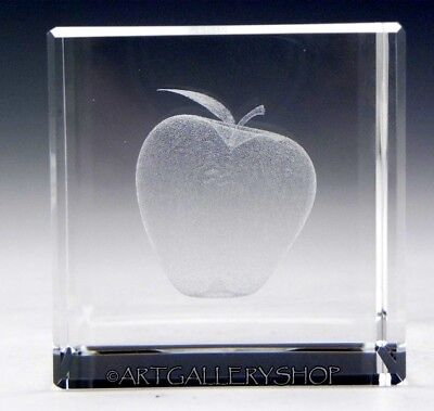 Laser Art Glass (3D Art Glass PAPERWEIGHT LASER ETCHED CRYSTAL GLASS APPLE FRUIT 2.5
