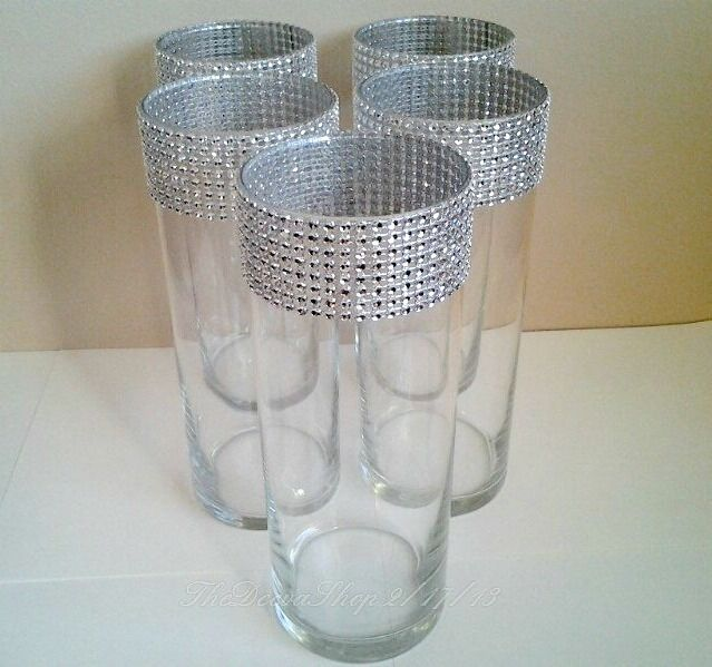 Cylinder Centerpiece Vases Wedding Party SILVER Bling Vase Lot Showers  5 Pc Lot