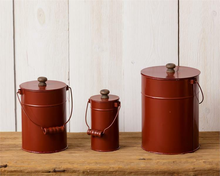 Set of 3 Red Tin Handle Canisters with Lids