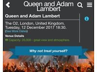 Queen with Adam Lambert O2 Tuesday 12 Dec