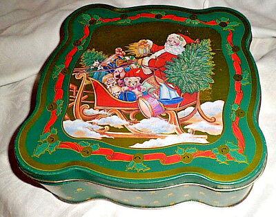 Alte Blechdose mit Weihnachtsmann Nicolaus    Christbaumschmuck