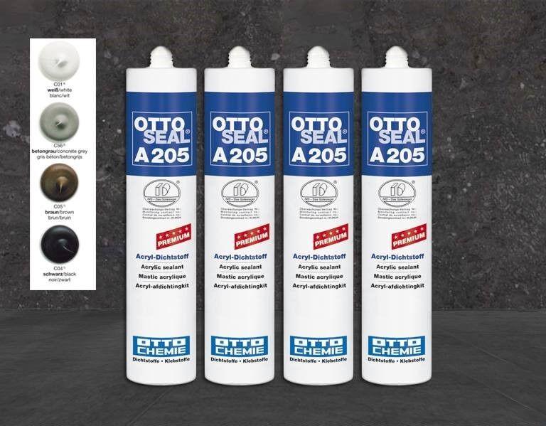 Otto ACRYL Dichtstoff OTTOSEAL A205 Premium 310ml weiß, betongrau, schwarz, brau