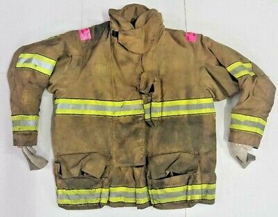52x35 Globe Firefighter Brown Turnout Jacket Coat With Yellow Tape Gxtreme J768