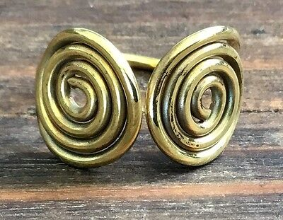 Double Spiral Swirl Polished Brass Ring Size 7, 8 or 9 - Gift (Brass Polished Ring)
