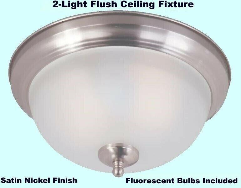 2-Light Flush Ceiling Fixture   Satin Nickel Finish  Fluores