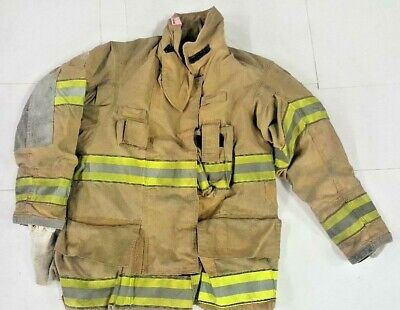 38x32 Globe Gxtreme Firefighter Brown Turnout Jacket Coat With Yellow Tape J800