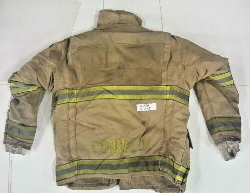 52x35 Globe Gxtreme Firefighter Brown Turnout Jacket Coat with Yellow Tape J774